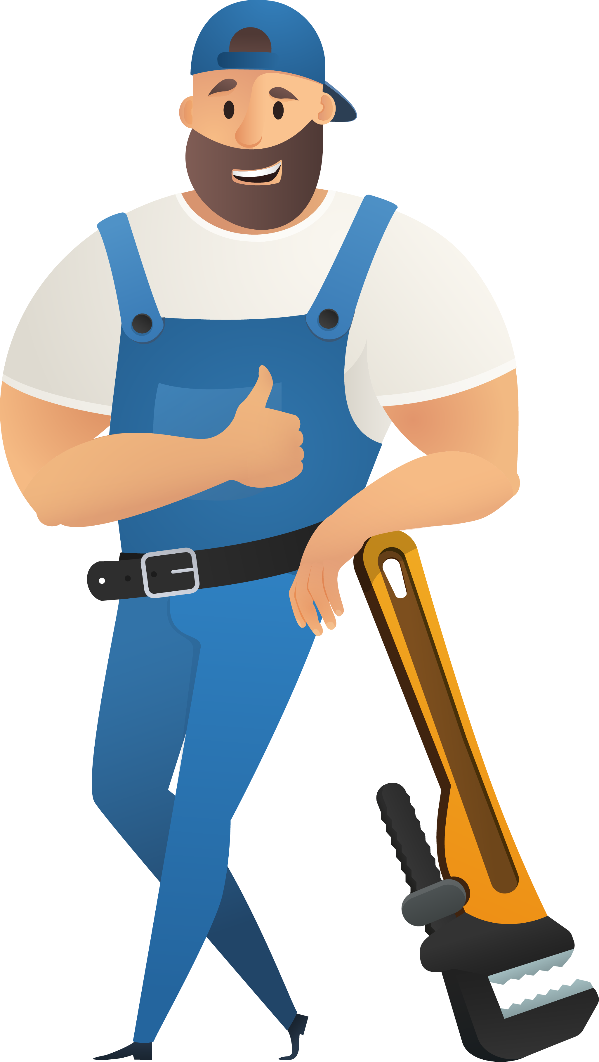 best local plumber in blue overalls leaning against a giant pipe wrench